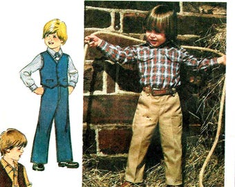 Boys Shirt Trouser Pants and Vest Simplicity 9129 Sewing Pattern Vintage 1970s Children Toddler, Long Sleeves Size 4, 6
