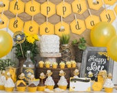 BEE day Birthday Party Kit Bumble bee themed 1st birthday, 2nd birthday, 3rd birthday Cute Printable Ochre + Grey honeycomb & stripes decor