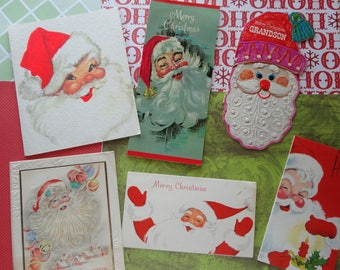 Happy Face of Santa Claus in Vintage Christmas Card Lot No 1056