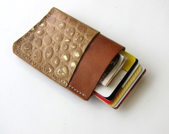 Leather Wallet - 3 Pocket - Raw and Rustic - Two Tone Color Leather