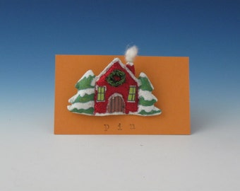 Red House Pin, Fiber Art Christmas Tree and House, Folk Art Christmas Tree and House