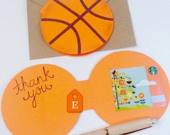 Basketball Coach Gift / Thank You Coach Greeting Card / Gift Card Holder for Coach Basketball Team