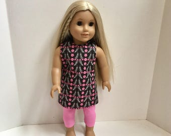 18 Inch Doll Clothes - 2 Pc Pink and Brown Flower Outfit