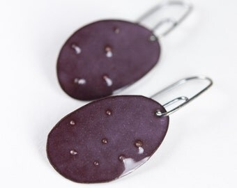 Rustic Dimpled Enamel Dangle Earrings with Signature Handmade Sterling Ear Wires in Orchid