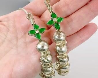 Huge Hoops, Oversized, Massive, Boho Statement, Vintage Earrings, Kuchi Earrings, Thicker Gauge, Green, Silver Earrings, Tribal Afghan