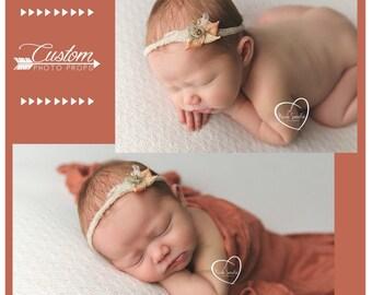 Layla and Co. Newborn Headband & Wrap Set, Newborn Photo Props, Baby Wrap with Matching Handmade Headband, Photography Props, Baby Props