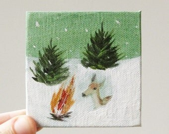 snow cave / deer art, original small painting
