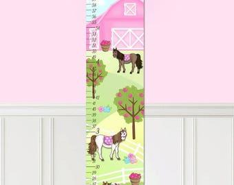 Canvas GROWTH CHART Horse Pony Barnyard Girls Bedroom Baby Nursery Wall Art GC0300