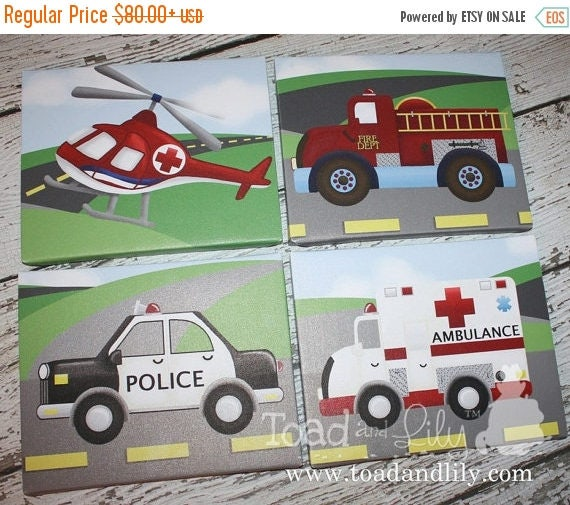 Spring SALE Set of 4 Rescue Vehicle Boys Bedroom Stretched Canvases Kids Playroom Baby Nursery CANVAS Bedroom Wall Art 4CS013