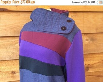 15% OFF SALE Hoodie Sweatshirt Sweater Handmade Recycled Upcycled One of a Kind BRUISED Ladies Large - Purple Blue Color Block Pockets