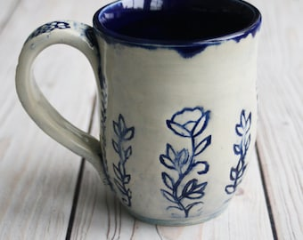 10 oz. Coffee Mug in Natural White and Navy Blue Glaze with Floral Motif Design Pottery Mug Made in USA Ready to Ship