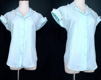 1960s Blue Green Pajama Top Shirt Lace Peter Pan Collar Button Short Sleeve Small Medium