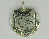 Cat pendant tabby fine silver PMC DTPD