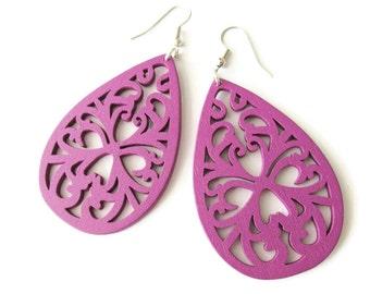 Purple Teardrop Filigree Dangle Wooden Earrings, Large Hippie Boho Style Jewellery, Bright Colourful Lightweight Earrings  for Women