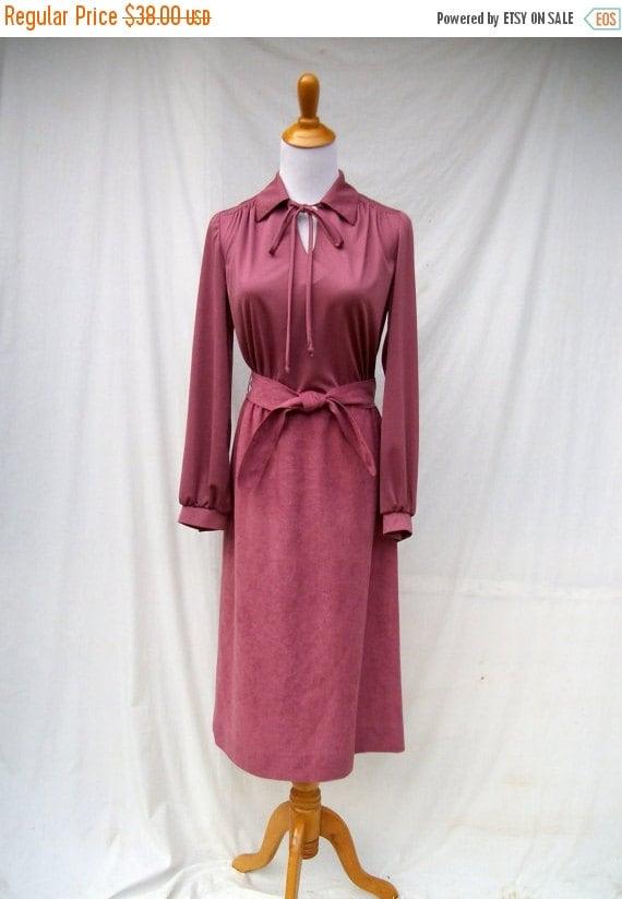 SALE 70s Mauve Pink Faux Suede Dress with Vest size Small