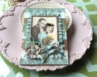 Teal Anniversary Card - Vintage Couple Card - Vintage-style Anniversary Card - Old Fashioned Card