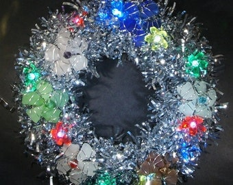 Glittery Lighted Sea GlassWreath With Sea Glass Flowers in a Variety of Colors