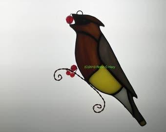 Cedar Waxwing Stained Glass Suncatcher