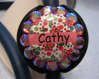 Stethoscope ID Tag, Stethoscope Name Tag, Stethoscope Tag, Crystal Stethoscope Name Tag,Name Tag, Name Badge,Flowers with Swarovski Elements