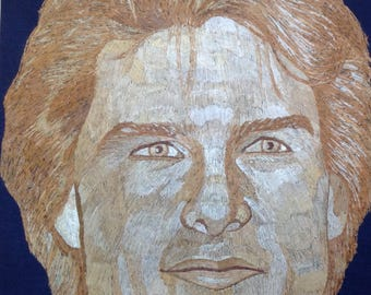 Tom Cruse Portrait handmade with rice straw. Unique gift for Hollywood star Tom Cruisefan Have U sen ancient rice straw art. Very UNIQUE ART