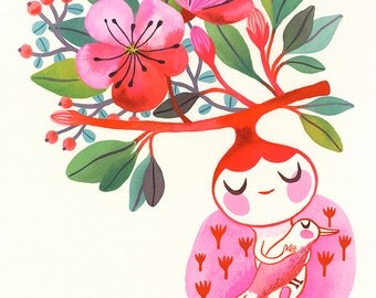 Spring Spirit... - limited edition giclee print of an original watercolor illustration (8 x 10 in)