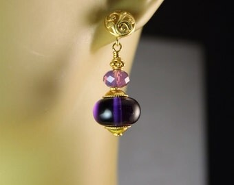 The Contessa Purple Lampwork Glass Beads, Swarovski Cyclamen Opa lBali Vermeil Beads, Caps and Charms Handmade Earrings
