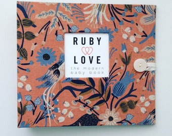 BABY BOOK | Rifle Paper Co. Peach Folk Birds Album | Ruby Love Modern Baby Memory Book