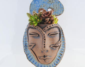 ceramic face planter garden art mask wall planter head planter