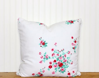 Vintage Floral Pillow Cover - White Chenille - Decorative Pillow - Pink & Red Roses - Cottage Decor - Shabby Chic - Repurposed
