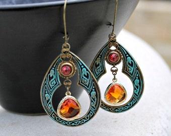 Jewel Chandelier Earrings, Bohemian, Teal, Pink, Sunset Orange, Hippie Earrings, Boho Jewelry