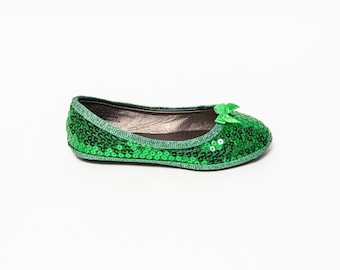 Sequin | Girls Kelly Green with Satin Bows Dress Flats Shoes
