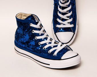 Tiny Sequin - Starlight Sapphire Blue Canvas Hi Top Sneakers Tennis Shoes