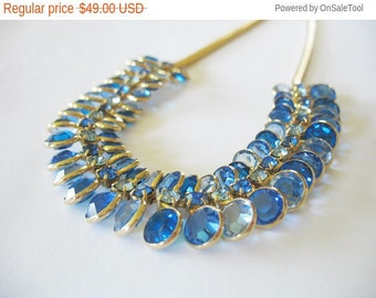 Holiday Sale Vintage Blue Crystal Necklace Sapphire Rhinestones 1960's Ombre