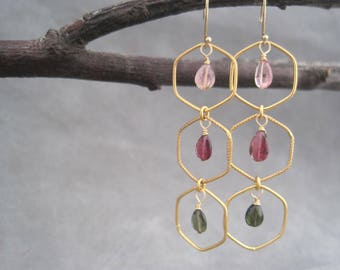 Tourmaline Earrings - Semi Precious Stones - Chandelier - Green - Pink - October Birthstone - Faceted - Gold