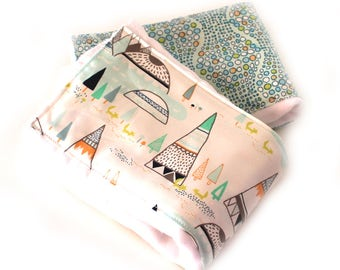 Tepee Burp Cloths, Blue Orange Gray Boy Burp Cloth - Diaper Burp Cloth set of 2 // Adventure Boho Nursery Theme / Baby Shower Gift