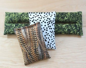 Lavender Sachet Set for Her Cotton Anniversary, Greenery Woodland Pheasant Feather Polka Dot