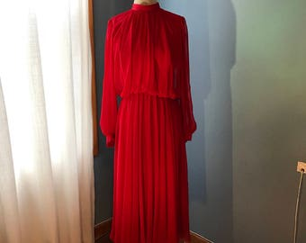 Vintage red chiffon formal dress