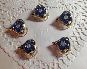 Blue Flower Hair Swirls in Antique Gold Tone Setting Prom Ballroom Dancing Bridesmaids Debutante Ball