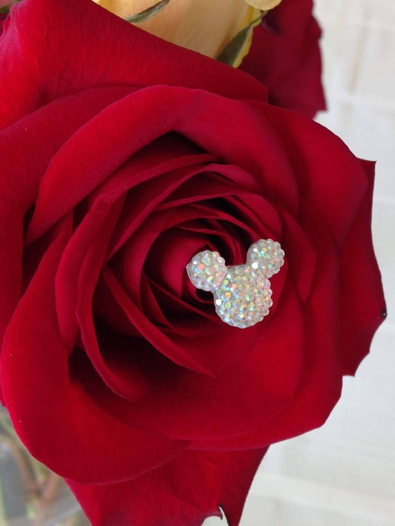 FREE SHIP 12 Disney Wedding Hidden Mickey Mouse Ears Bouquet Themed Wedding Flower Picks Floral Pins Flower Posts Clear AB Bridal Flowers