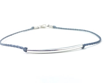 Balance Bracelet - Be Still - Simple Layering Bracelet - Curved Tube Bead - Rope bracelet - Simple Jewelry - Meaningful Gift