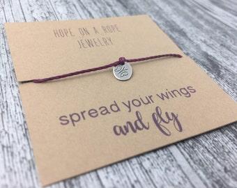 Butterfly Bracelet - Graduation Gift - Hand Stamped Butterfly Bracelet - Sterling Silver Cord Bracelet - Simple Bracelet - Spread your Wings