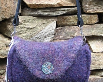Messenger Purse Heather Purple Wool Felted Hand Knitted Custom Lined