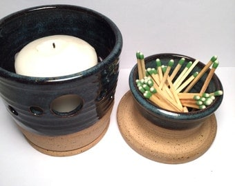 Ceramic Match Striker Set  Fireplace accessories  and candle holder In Midnight Blue  Stock Ready to Ship