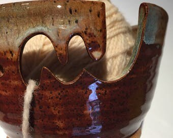 Artisan Large Ceramic Yarn Bowl Knitting Bowl in Honey Brown with green accent - Ships Now