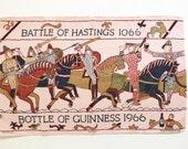 Vintage Tea Towel Guinness Beer Advertising Hanging Textile Poster Art Battle Scene Horses 1966