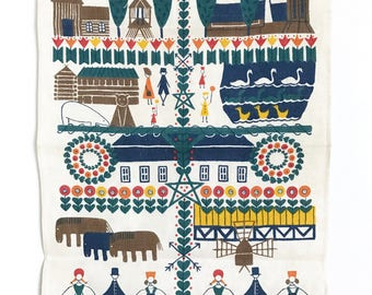 Vintage Swedish Towel Textile Wall Hanging Decor Scandinavian Souvenir Sverige