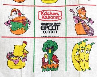 Vintage Souvenir Towel Kitchen Kabaret Walt Disney World Epcot Center Dated 1982
