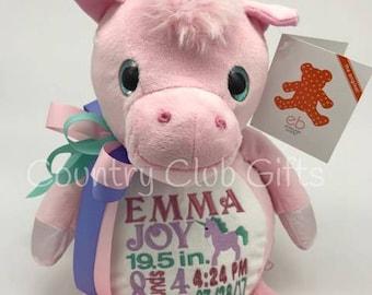 personalized baby gift, stuffed plush, Whimzy Pink Unicorn kids personalized stuffed animal keepsake, baby gift, Embroider Buddy