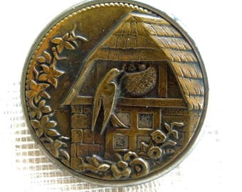 Antique Picture Button - Large Brass And Steel Picture Button - Bird And Nest Picture Button