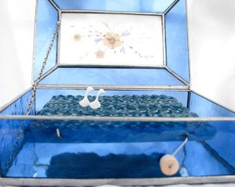 kinetic bird art, wood swans automaton sculpture, stained glass jewelry box, bird home decor,